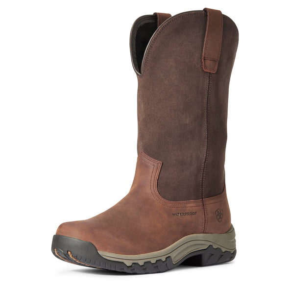 Women's Terrain Pull On Waterproof Boots in Dark Brown 10033927 Ariat