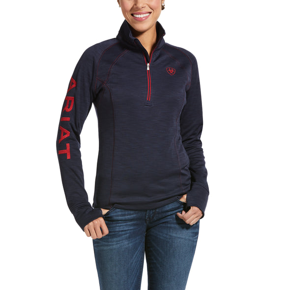Women's Tek Team 1/2 Zip Sweatshirt Fleece Jacket in Navy Heather, 10033314 Ariat