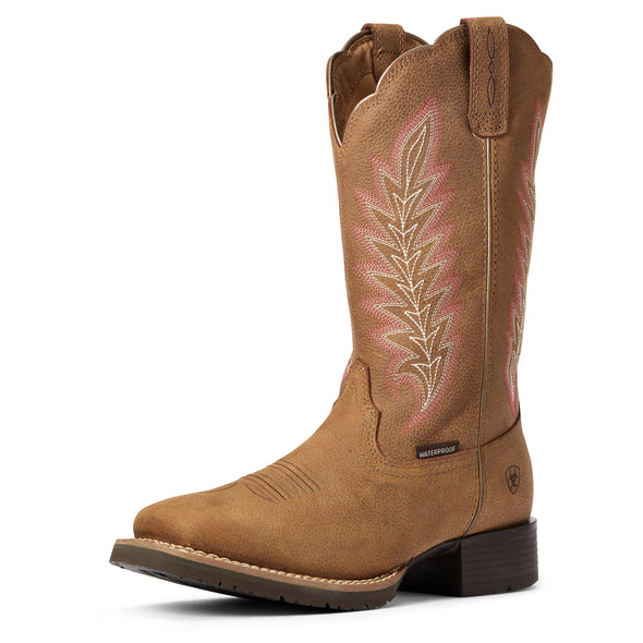 Women's Hybrid Rancher Waterproof Western Boots in Pebbled Tan 10034049 Ariat