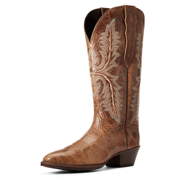 Women's Heritage Elastic Calf Western Boots in Dark Tan 10034154 Ariat