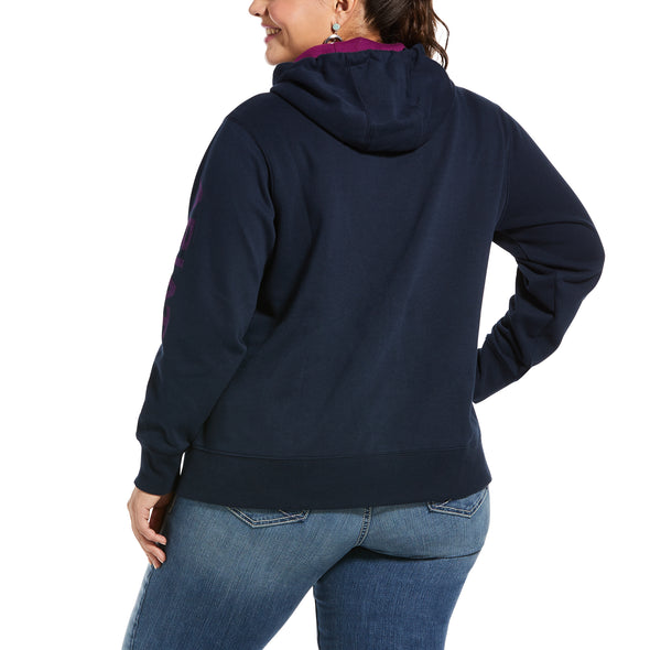 Women's REAL Arm Logo Hoodie Fleece in Navy Eclipse 10033136 Ariat back