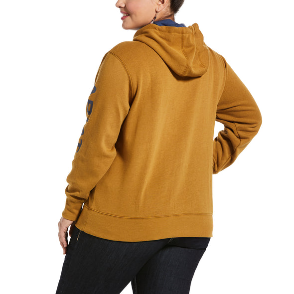 Women's REAL Arm Logo Hoodie Fleece in Bronze Brown Cotton,10033137 Ariat extended back