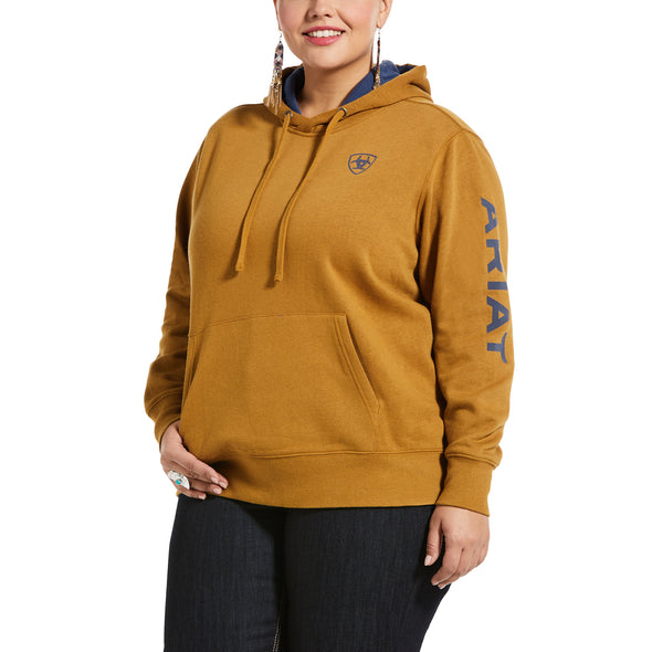 Women's REAL Arm Logo Hoodie Fleece in Bronze Brown Cotton,10033137 Ariat extended
