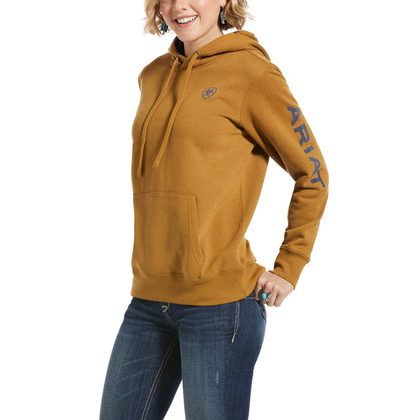 Women's REAL Arm Logo Hoodie Fleece in Bronze Brown Cotton,10033137 Ariat