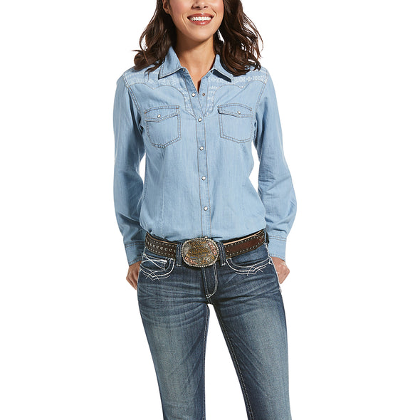 Women's REAL Fierce Shirt in Indigo, 10033138 Ariat