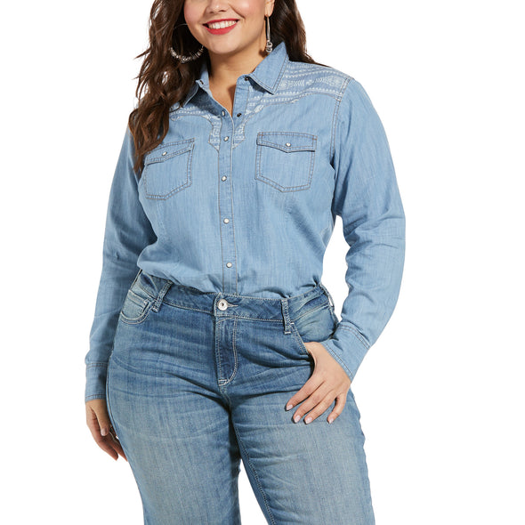 Women's REAL Fierce Shirt in Indigo, 10033138 Ariat Plus