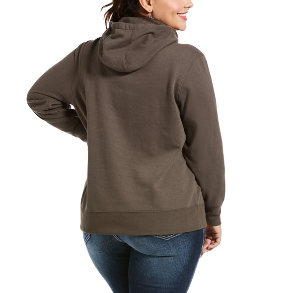 Women's REAL Varsity Logo Sweatshirt Fleece in Banyan Bark 10033533 Ariat back