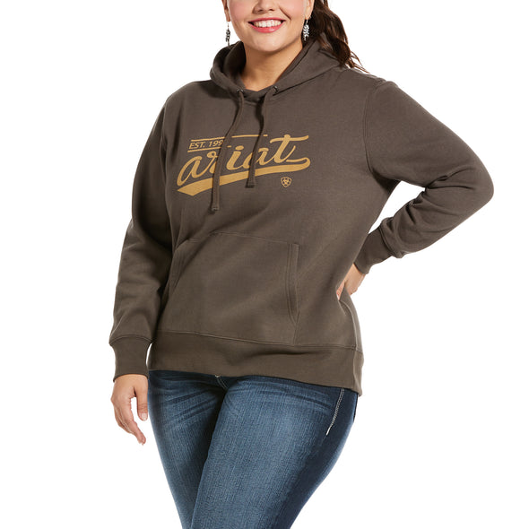 Women's REAL Varsity Logo Sweatshirt Fleece in Banyan Bark 10033533 Ariat