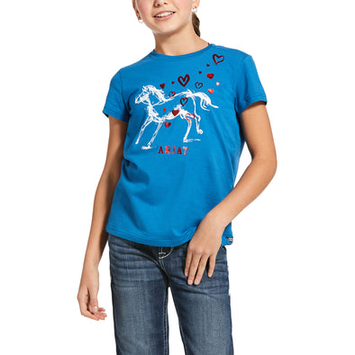 Kid's Pony Love T-Shirt in Blue Dawn Cotton, 10032746 Ariat