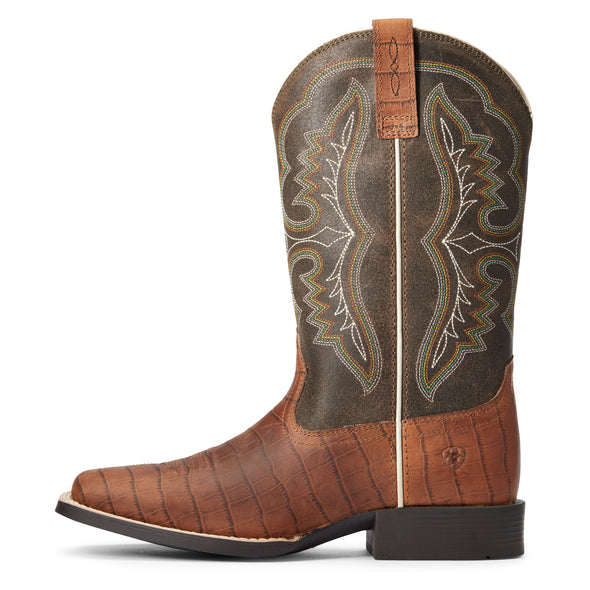 Kid's Ace Western Boots in Cognac Croc Print 10034061 Ariat side