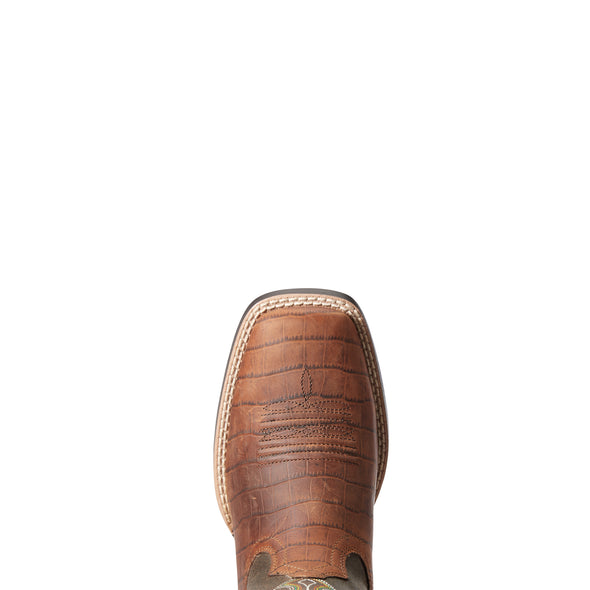 Kid's Ace Western Boots in Cognac Croc Print 10034061 Ariat toe