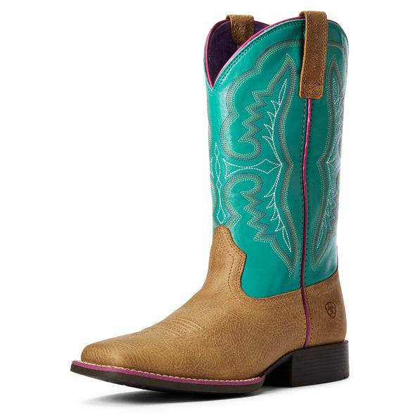 Kid's Ace Western Boots in Light Tan / Turquoise 10034062 Ariat
