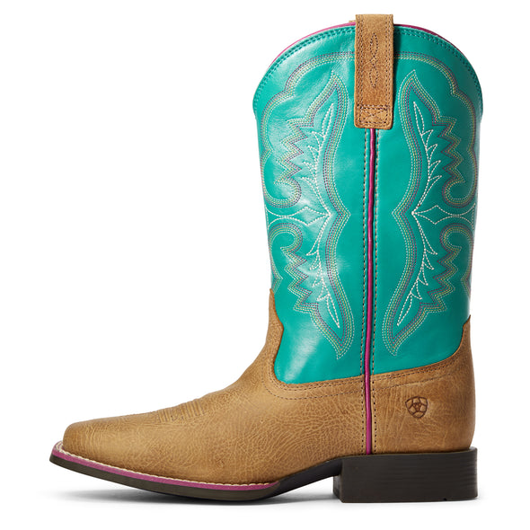 Kid's Ace Western Boots in Light Tan / Turquoise 10034062 Ariat side