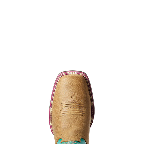 Kid's Ace Western Boots in Light Tan / Turquoise 10034062 Ariat toe