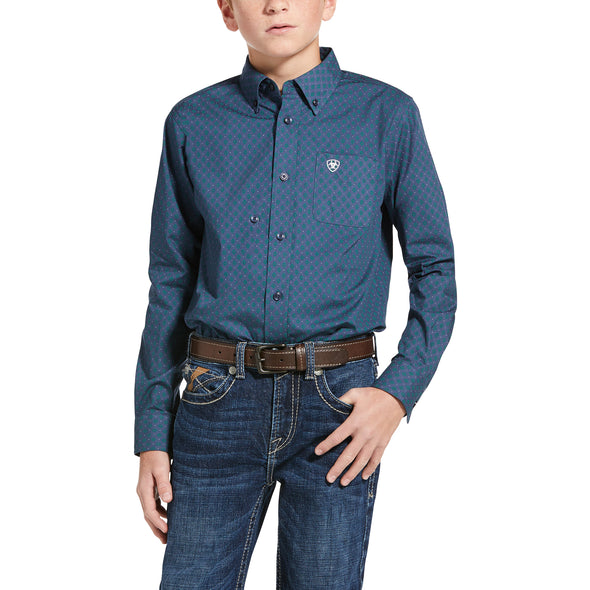 Kid's Jennersville Classic Fit Shirt in Marine Blue 10033102 Ariat