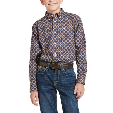 Kid's Jerri Classic Fit Shirt in Marine Blue 10033103 Ariat