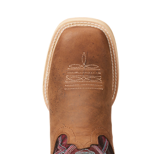 Kid's Vaquera Western Boots in Weathered Brown 10023071 Ariat toe