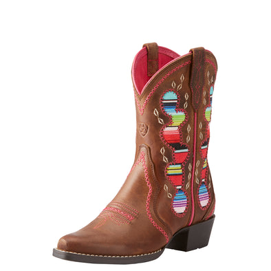 Kid's Desert Diva Western Boots in Distressed Brown 10023077 Ariat