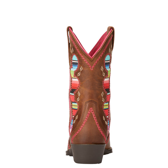 Kid's Desert Diva Western Boots in Distressed Brown 10023077 Ariat heel