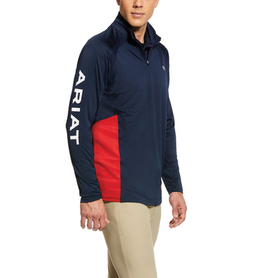 Men's Sunstopper Team 1/4 Zip Baselayer Top in Navy 10031008 Ariat