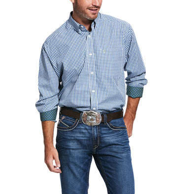 Men's Wrinkle Free Zestmont Classic Fit Shirt in Blue Velvet Cotton, 10031902 Ariat