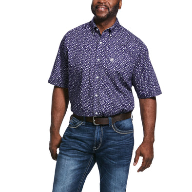 Mens Wrinkle Free Ulton Print Classic Fit Shirt in Nightshade 10031907 Ariat