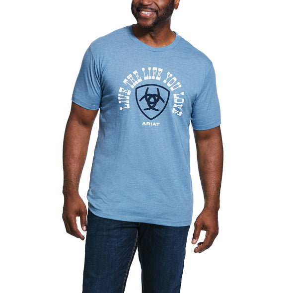 Ariat Men's Live The Life T-Shirt Denim Blue Heather 10032535