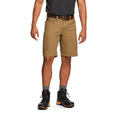 Men's Rebar DuraStretch Made Tough Shorts in Field Khaki Cotton, 10030265 Ariat