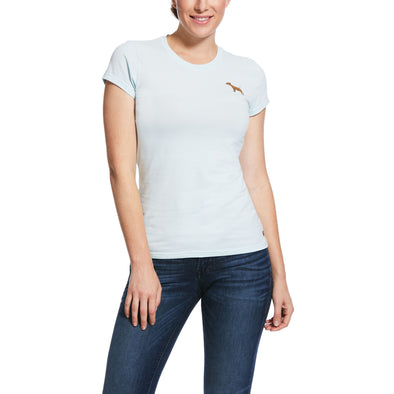 Women's Embroidered T-Shirt in Duck Egg Dog 10030481 Ariat