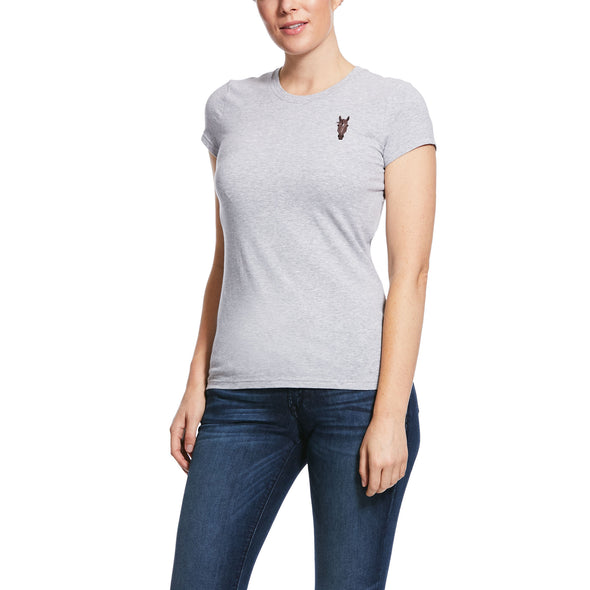 Women's Embroidered T-Shirt in Heather Grey Horse 10030485 Ariat