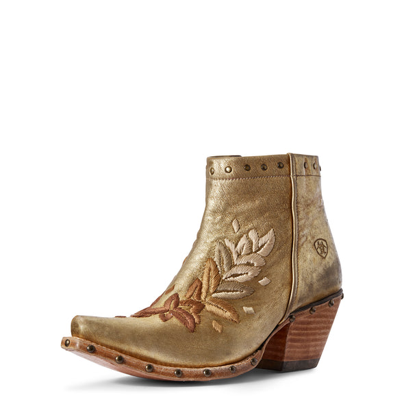 Women's Topaz Western Boots in Distressed Gold 10031554 Ariat