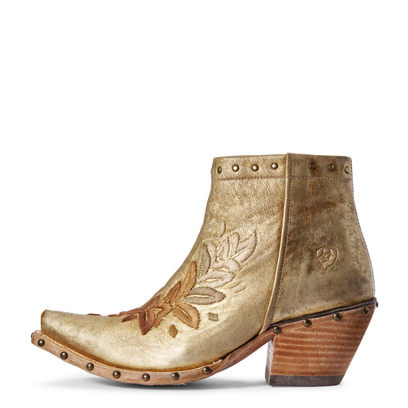 Women's Topaz Western Boots in Distressed Gold 10031554 Ariat side