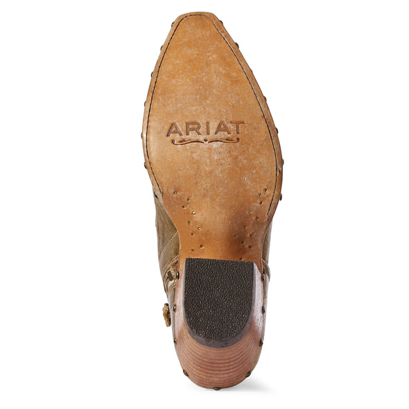 Women's Topaz Western Boots in Distressed Gold 10031554 Ariat outsole