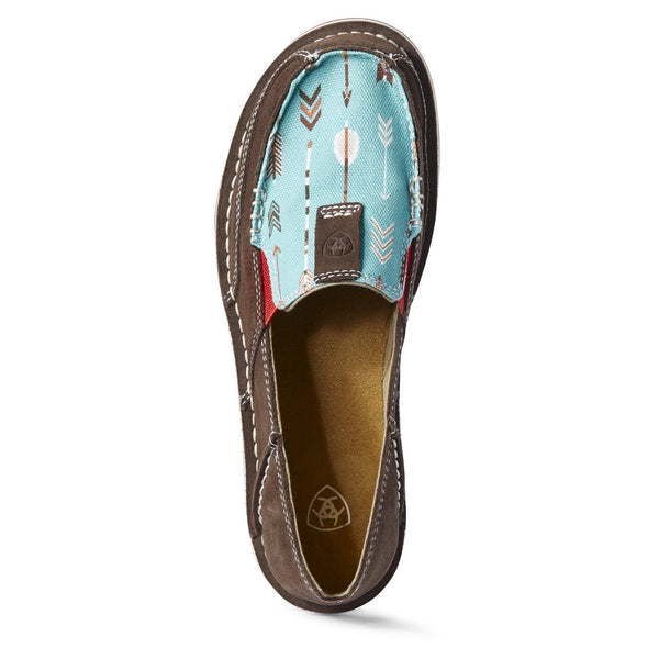 Ariat Women's Cruiser Chocolate Suede /  Turquoise Arrows 10031605 top