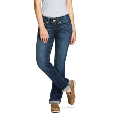 Women's R.E.A.L. Mid Rise Stretch Rookie Stackable Straight Leg Jeans in Pacific Cotton, 10030247 Ariat