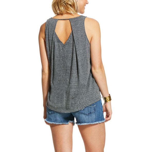 Women's Out West Tank Top in Charcoal Gray, 10030894 Ariat back