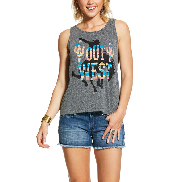 Women's Out West Tank Top in Charcoal Gray, 10030894 Ariat
