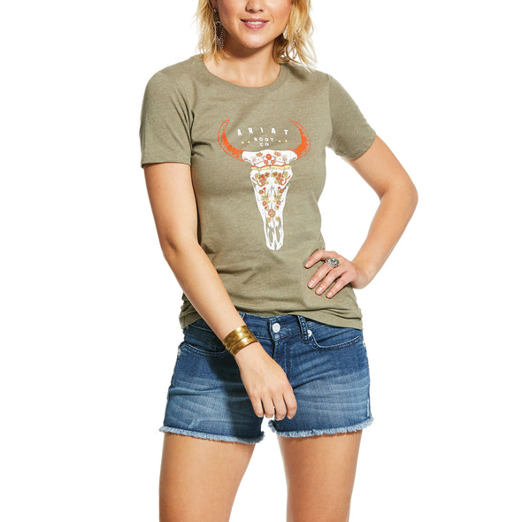 Ariat Women's Floral Steer Skull Tee Faded Green 10031708