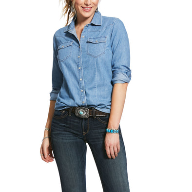 Ariat Ruffle Denim Snap Shirt 10031999