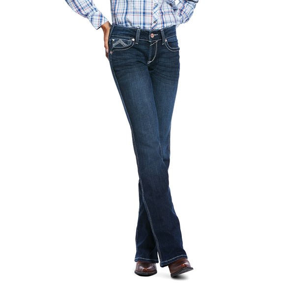 Women's R.E.A.L.™ Low Rise Stretch Glitz Boot Cut Jeans in Twilight Cotton, 10032093 Ariat