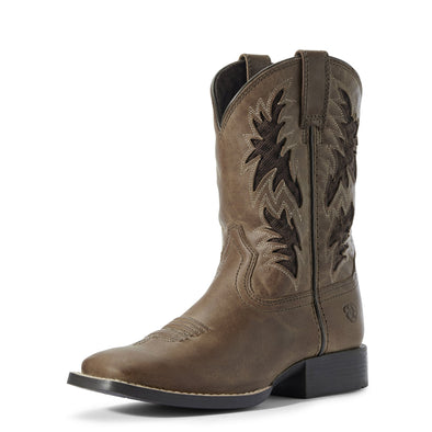 Kid's Cowboy VentTEK Western Boots in Homestead Brown Leather, 10031488 Ariat