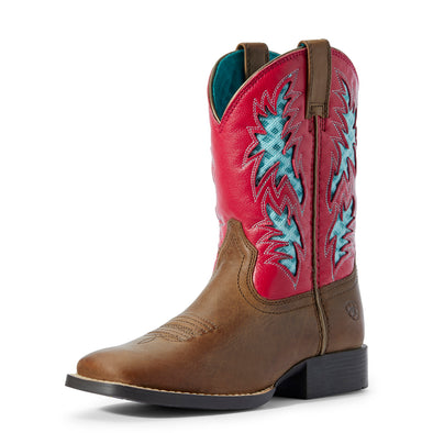 Kid's Cowboy VentTEK Western Boots in Homestead Brown / Hot Pink Leather, 10031489 Ariat