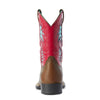 Kid's Cowboy VentTEK Western Boots in Homestead Brown / Hot Pink Leather, 10031489 Ariat heel