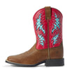 Kid's Cowboy VentTEK Western Boots in Homestead Brown / Hot Pink Leather, 10031489 Ariat side