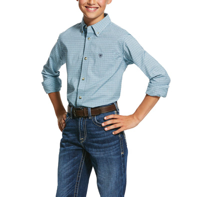 Kid's Pro Series Novato Stretch Classic Fit Shirt in Crystal Blue 10030605 Ariat