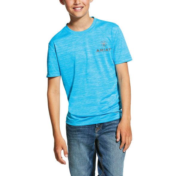 Ariat Kid's Charger T-Shirt in Nautilus Blue, 10030630 Ariat