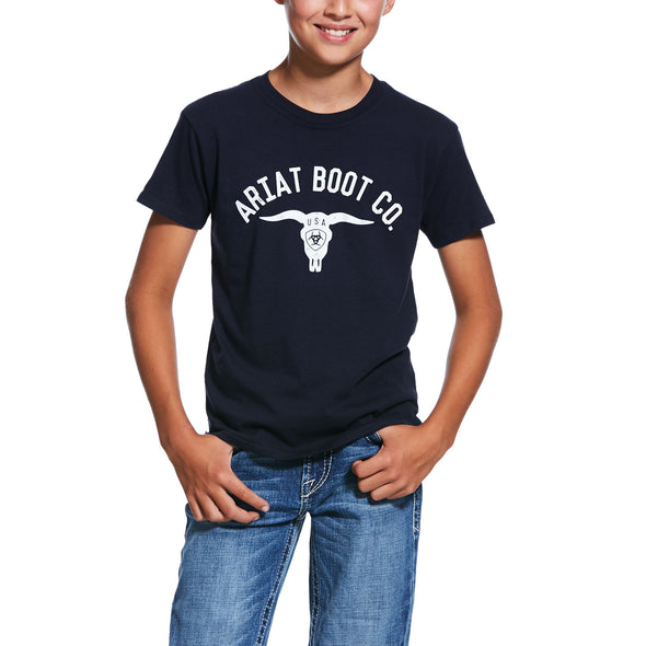 Ariat Boys USA Stag T-Shirt Navy 10032574
