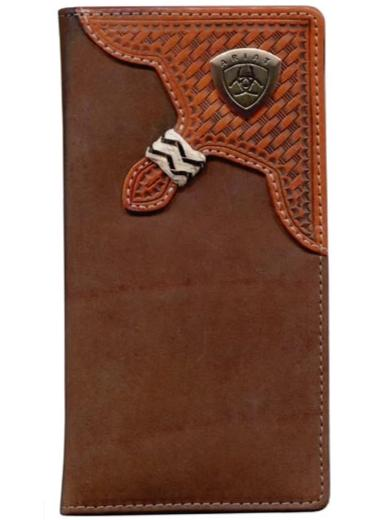 Ariat Rodeo Wallet - Basket Weave Overlay Dark Tan WLT1111A