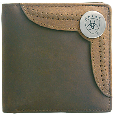 Ariat Wallet Bi-fold Two Toned Accent Overlay - Brown / Tan WLT2103A