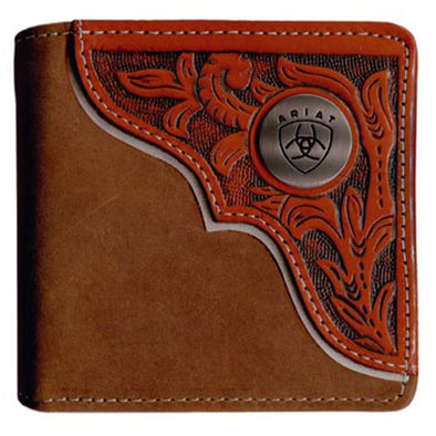 Ariat Wallet Bi-fold - Tooled Overlay Dark Tan WLT2112A
